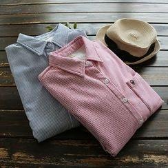 YOYO - 长袖抓毛内衬细直条纹衬衫