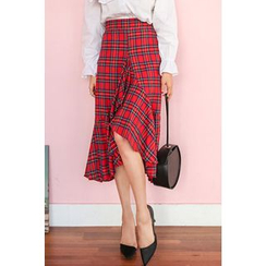 PPGIRL - Ruffle-Hem Checked Midi Skirt