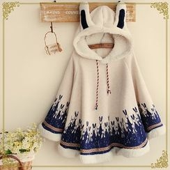 Snow Goose - Rabbit Ear Printed Hooded Cape