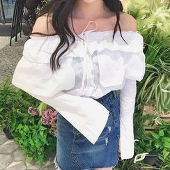 Dream Girl - Ruffle Trim Off-Shoulder Blouse