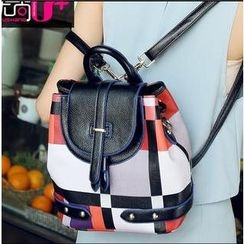 Youshine - Faux Leather Colour Block Backpack
