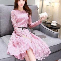 Romantica - Long Sleeve A-Line Lace Dress