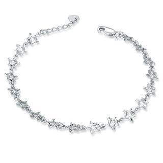 MaBelle - 14K Italian White Gold Diamond-Cut Stars Bracelet (6.5''), Women Jewelry in Gift Box