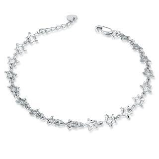 MaBelle - 14K Italian White Gold Diamond-Cut Stars Bracelet (6.5''), Women Jewelry in Gift Box