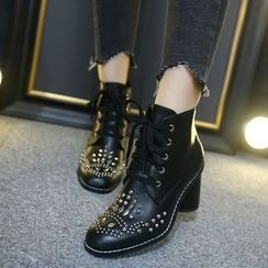 Monde - Block Heel Studded Lace-Up Short Boots