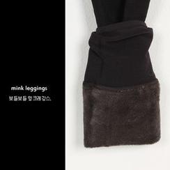 FASHION DIVA - Layered-Hem Coral-Fleece Lined Leggings