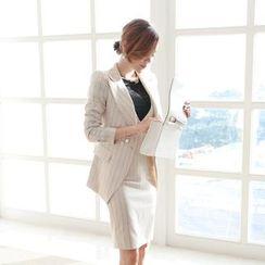 Dimanche - 套裝: 細條紋V領塑身裙 + 西裝外套