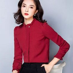 Ashlee - Frill Trim Stand Collar Blouse