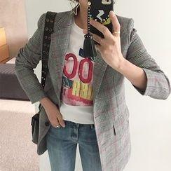 DISCOSALON - Single-Breasted Checked Jacket