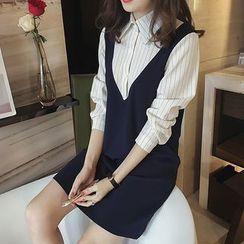Little V - 假两件细条纹衬衫裙