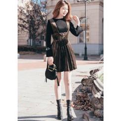 Chlo.D.Manon - High-Waist Pleated Velvet Mini Suspender Dress