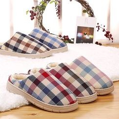 Fun House - Plaid Fleece Slippers