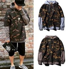 Free Shop - Hooded Mock Two-Piece Camouflage Sweatshirt