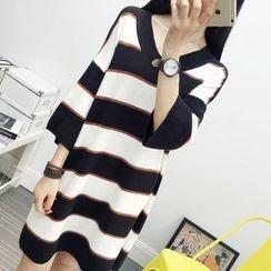 Knitemps - 3/4-Sleeve Striped Knit Tunic