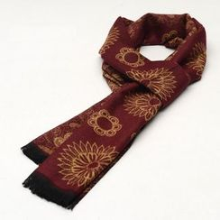 Romguest - Patterned Fringed Scarf