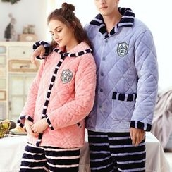 Mydream - Couple Matching Loungewear Set: Quilted Coral Fleece Shirt + Pants
