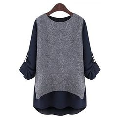 Eloqueen - Long-Sleeve Color-Block Paneled Top