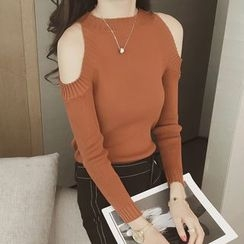 Ashlee - Cold Shoulder Long-Sleeve Knit Top