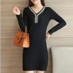 Cottony - Embellished Long Sleeve Mini Dress
