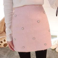 chuu - Beaded Wool Blend Mini Skirt
