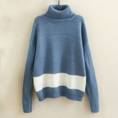 Angel Love - Turtleneck Contrast Trim Sweater