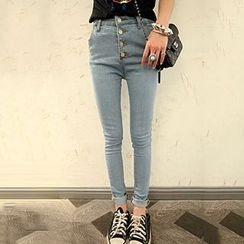 Glen Glam - Buttoned Skinny Jeans