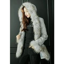 REDOPIN - Faux-Fur Zip-Detail Jacket With Sash