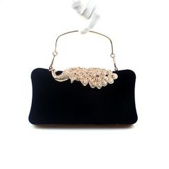 Bling Bag - Embellished Peacock Clipframe Clutch