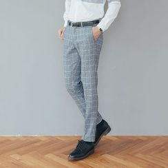 DANGOON - Band-Waist Check-Pattern Dress Pants