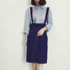 HazyDazy - Denim High-Waist Suspender Skirt
