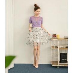 Hanako Shiratori - Set: Short-Sleeve Knit Top + Dotted Layered Skirt