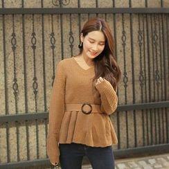 Cherryville - V-Neck Sweater with Belt