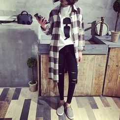 Eva Fashion - Check Long-Sleeve Long Blouse
