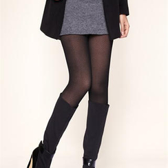 Moonbasa - Sheer Fleece-Lined Zigzag-Pattern Leggings
