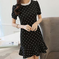 Q.C.T - Polka Dot Short-Sleeve Dress