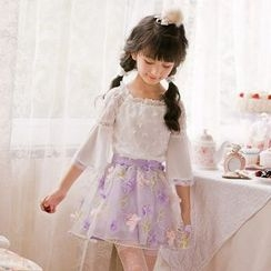 Candy Rain - Kids Flower Accent A-Line Skirt