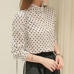 Q.C.T - Polka Dot Stand Collar Shirt