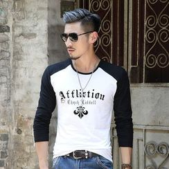 VILUNI - Letter Raglan Panel Long-Sleeve T-shirt