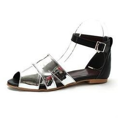 MODELSIS - Genuine Sheepskin Ankle-Strap Sandals