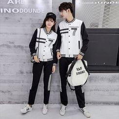 CASSY - 套裝: 情侶棒球夾克 + 長褲