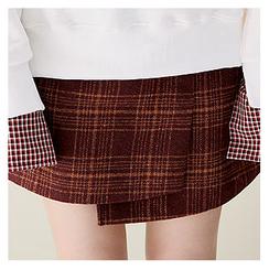 Sechuna - Band-Waist Asymmetric-Hem Plaid Skirt