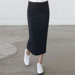 CHICFOX - Slit-Back Knit Skirt
