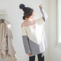 JUSTONE - Mock-Neck Color-Block Long Sweater