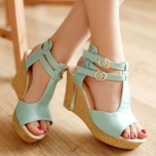 Pangmama - T-Strap Wedge Sandals