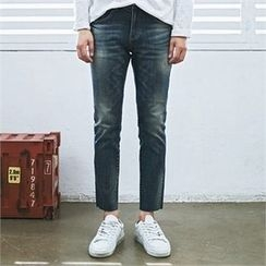 MITOSHOP - Fray-Hem Washed Tapered Jeans
