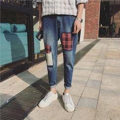 Mr. Wu - 拼布锥形牛仔裤