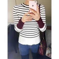 STYLEBYYAM - Stripe Ribbed Knit Top