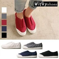 Wifky - Toe-Cap Eyelet Canvas Sneakers
