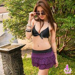 Ayoka - Set: Rhinestone Bikini Top + Polka-Dot Skort