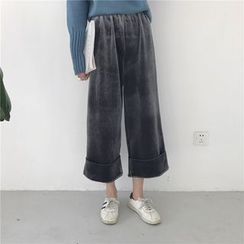 Bloombloom - High Waist Cropped Velvet Wide Leg Pants